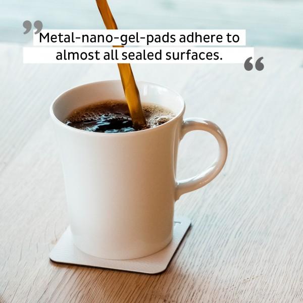Porcelain Magnetic Handle Cups incl. Metal-Nano-Gel-Pads WHITE