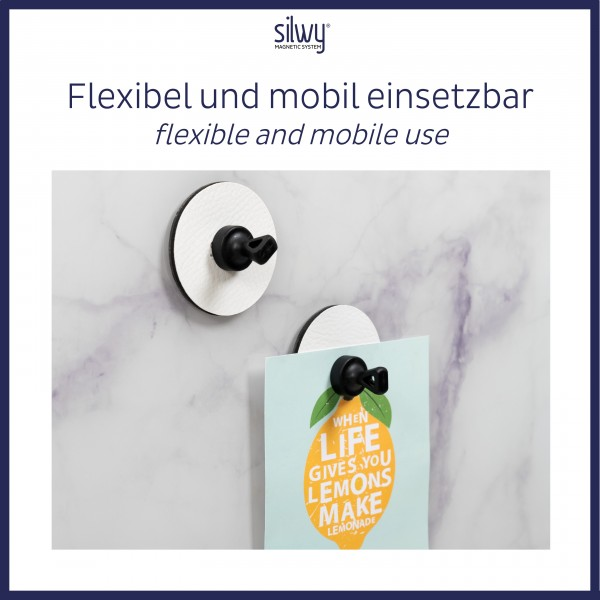 "Magnetic Pins ""FLEX"" incl. Metal-Nano-Gel-Pads WHITE"