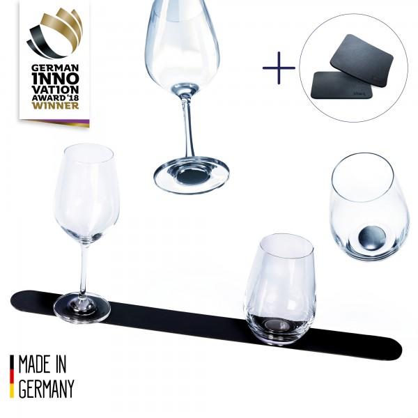 Crystal glass advantage set + metal bar 50 cm BLACK