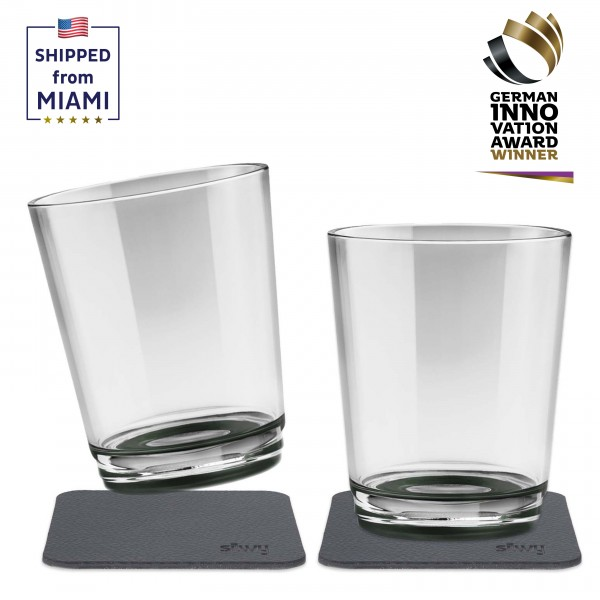 Magnetic drinking cup (set of 2), Pearl Grey