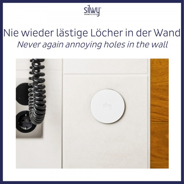"""Magnetic Hook """"CLEVER"""" WHITE incl. Metal-Nano-Gel-Pad WHITE"""