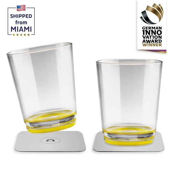 Magnetic drinking cup (set of 2), Oh Yellow