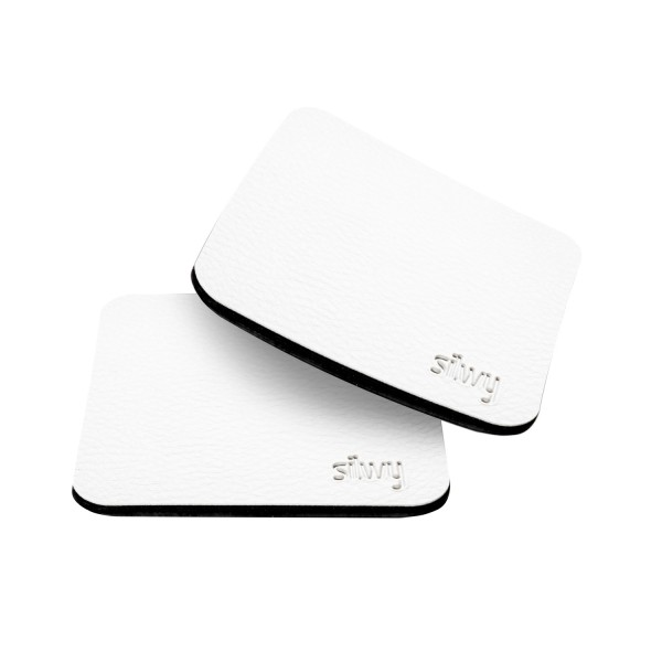 Metal-Nano-Gel-Pads (square) with Leather-Coating WHITE
