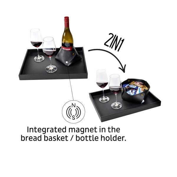 Metal Tray + 2IN1 Bottleholder & Bread Basket with Leather Look BLACK