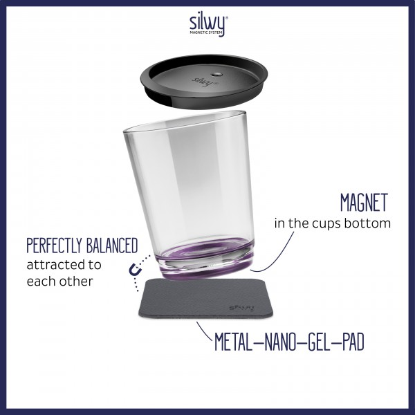 Magnetic drinking cup triple, Very Berry