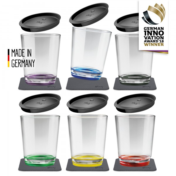 Magnetic Drinking Cup (set of 6 + Lids), Multicolour