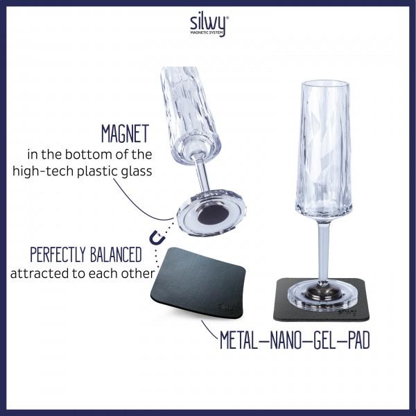 Magnetic Plastic Glasses CHAMPAGNE (Set of 2), High-Tech