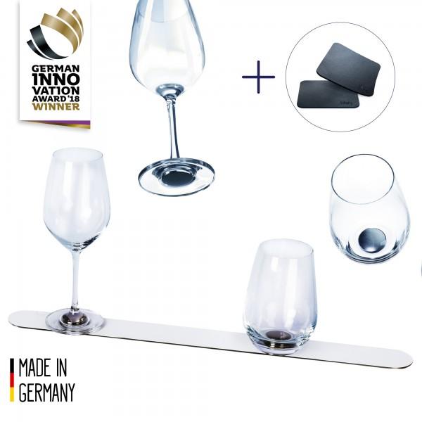 Crystal glass advantage set + metal bar 50 cm WHITE