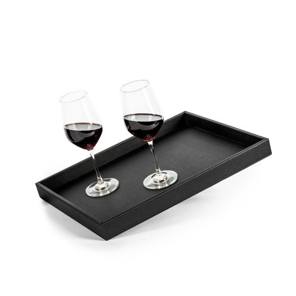 Metal tray in leather look BLACK
