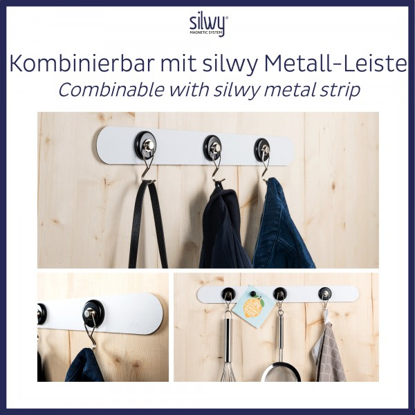 """Magnetic Hook """"THE ONE"""" incl. Metal-Nano-Gel-Pad WHITE"""