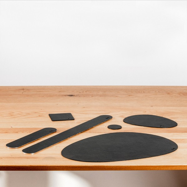 Metal-Nano-Gel-Placemat LARGE with Leather-Coating BLACK