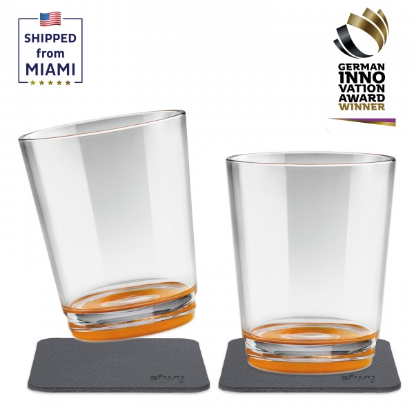 Magnetic drinking cup (set of 2), Hup Orange