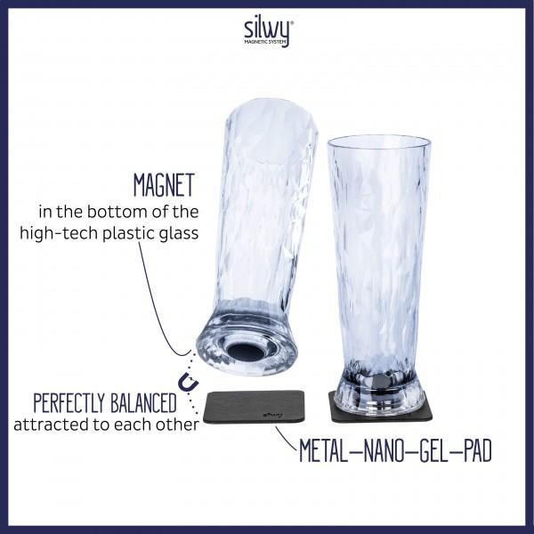 Magnetic Plastic Glasses BEER (Set of 2), High-Tech
