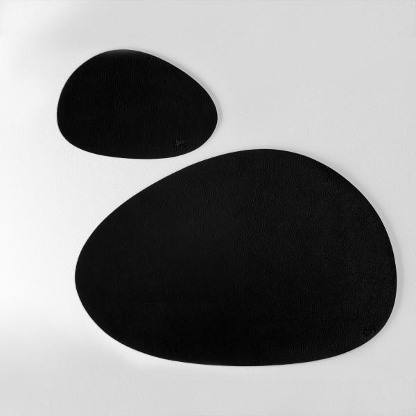 Metal-Nano-Gel-Placemat MEDIUM with Leather-Coating BLACK