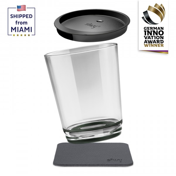 Magnetic drinking cup triple, Pearl Grey