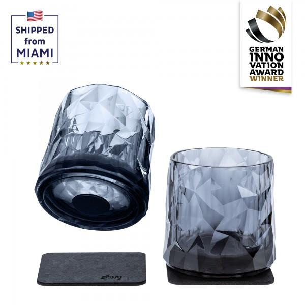 Magnetic Plastic Glasses Tumbler (Set of 2), High-Tech - grey