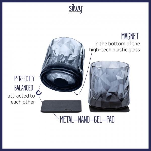 Magnetic Plastic Glasses TUMBLER (Set of 6), High-Tech - grey