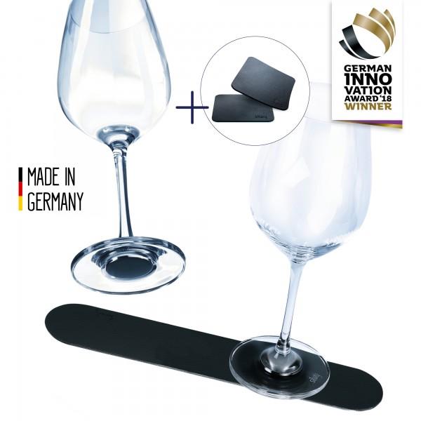 Metal strip 25 cm BLACK incl. Set of 2 Crystal Glasses Wine