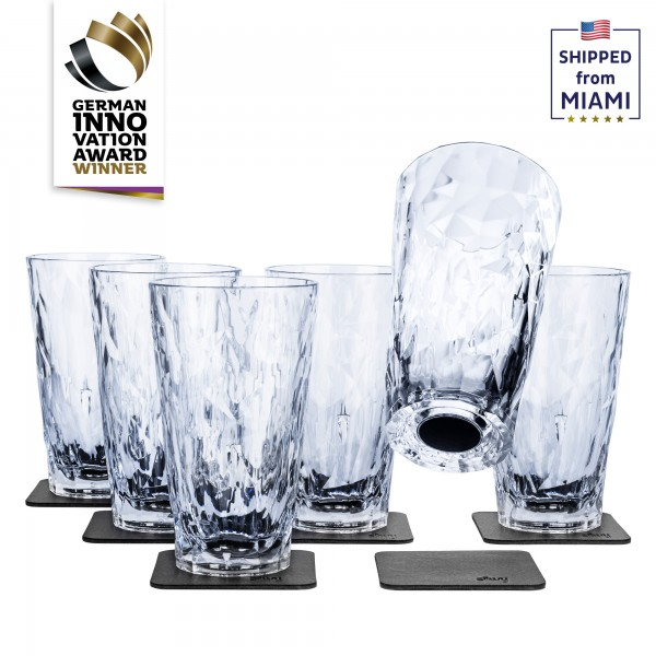 Magnetic Plastic Glasses LONGDRINK (Set of 6), High-Tech