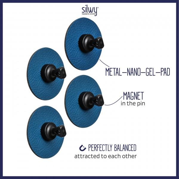 "Magnetic Pins ""FLEX"" incl. Metal-Nano-Gel-Pads BLUE"